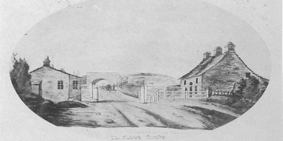 Pencil drawing of Burnely Culvert with houses at the sides