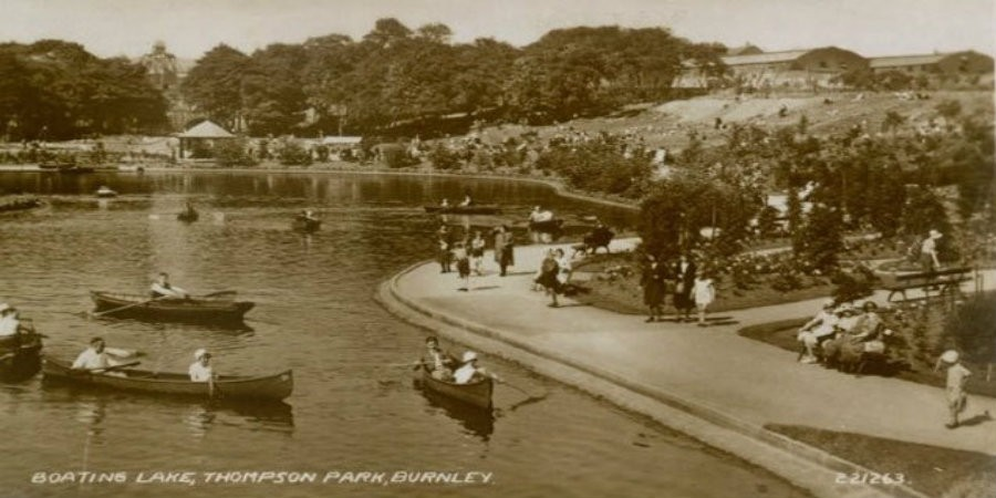Rowing boats on boating lake at Thompson Park, Burnley