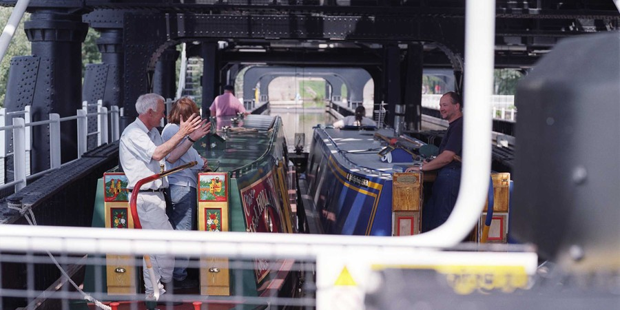 Narrowboats in Anderton Boat Loft