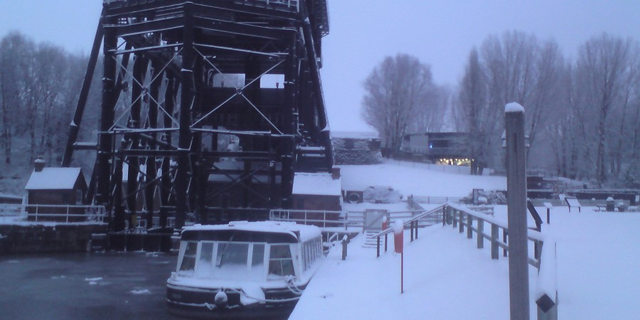 Anderton Boat Lift and surrounding area covered in snow