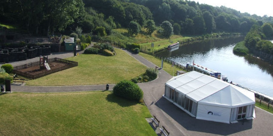Aerial view of marquee at Anderton Boat LIft