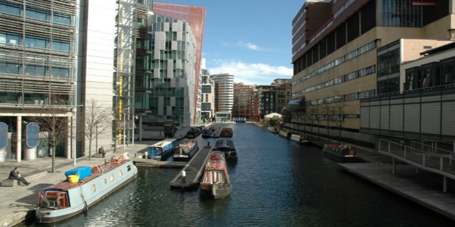 Boats moored in Paddington Basin