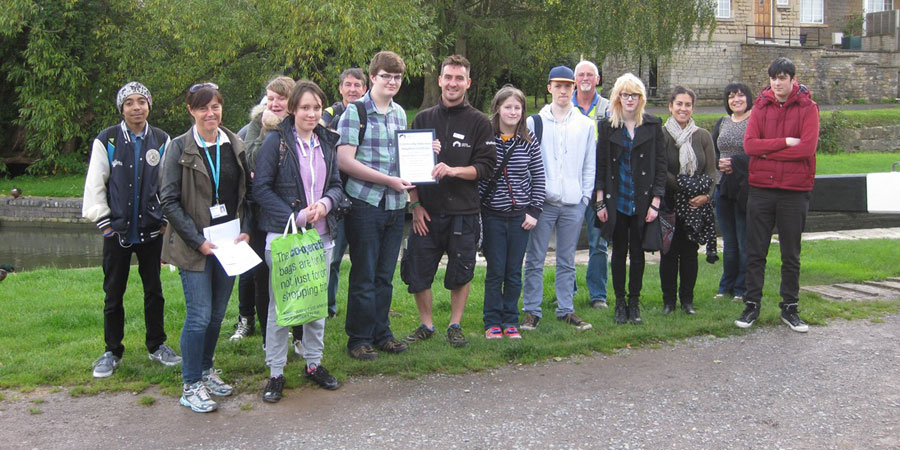 Students next to the Kennet & Avon Canal