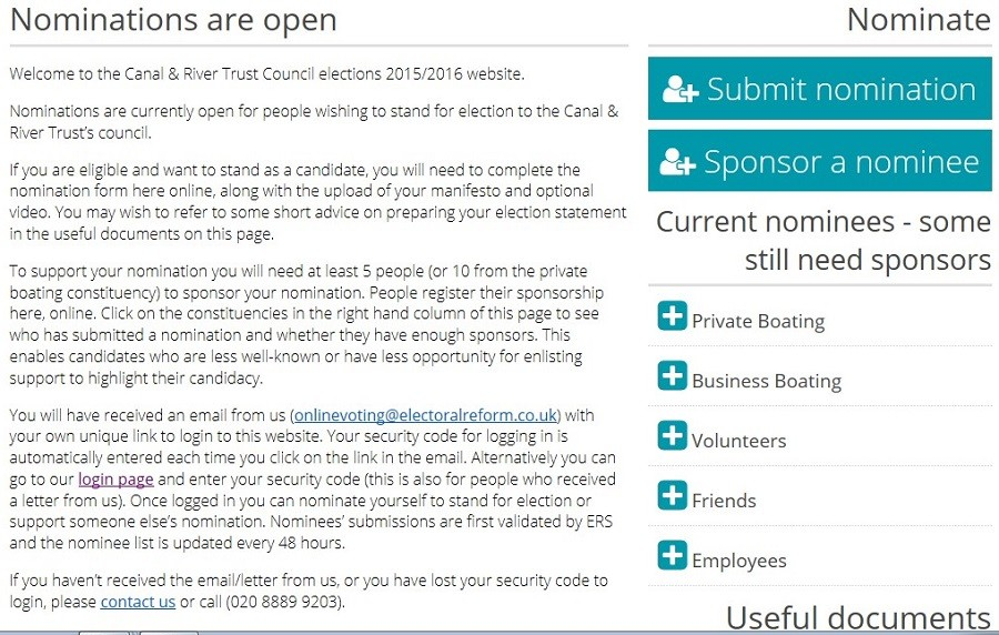 Screenshot of Council election website