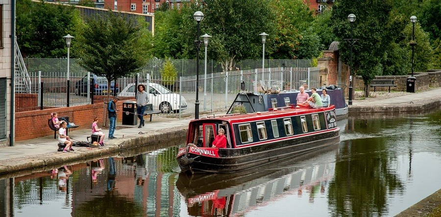 Boat travelling through Manchester