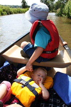 Asleep in a canoe