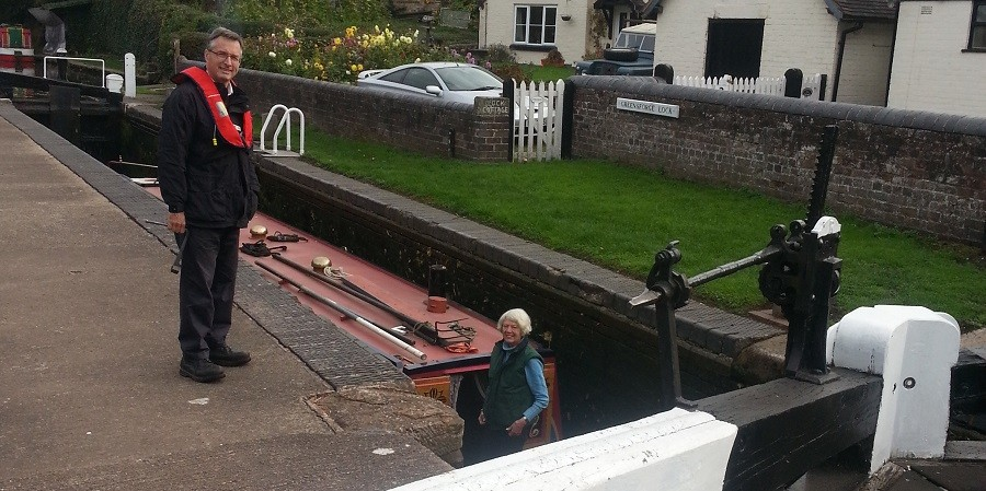 Chief exec, Richard Parry and Pamela Dodwell taking HELEN through a lock