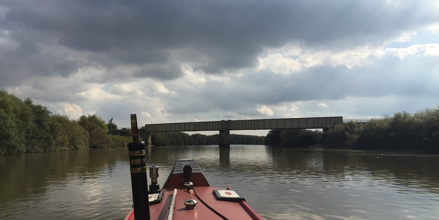 Heading under a bridge on the Trent