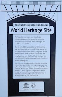 Pontcysyllte Aqueduct World Heritage plaque