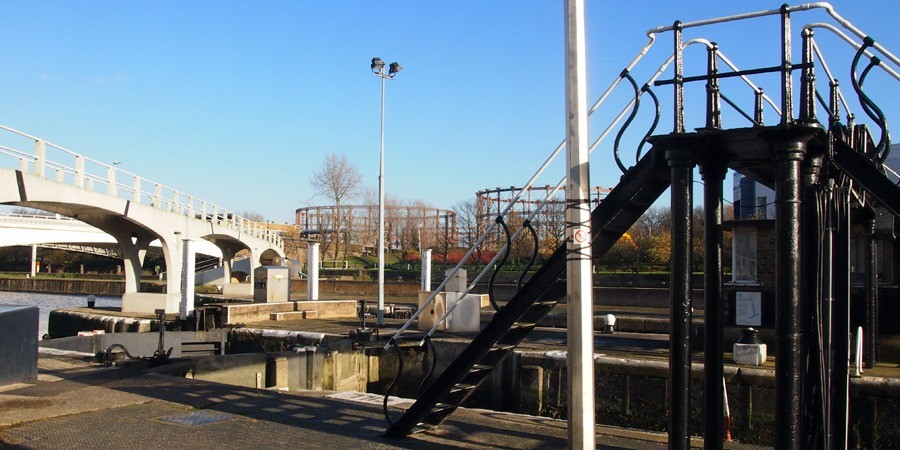 view of the lock at Bow Locks