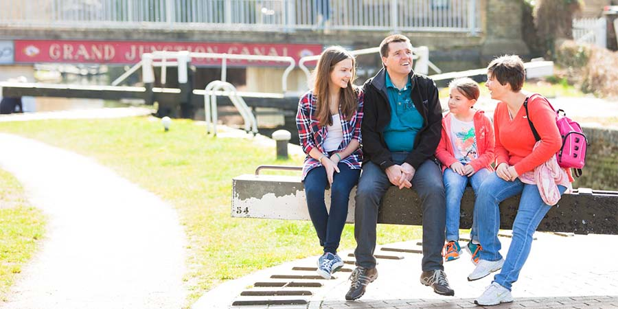 Family by the canal