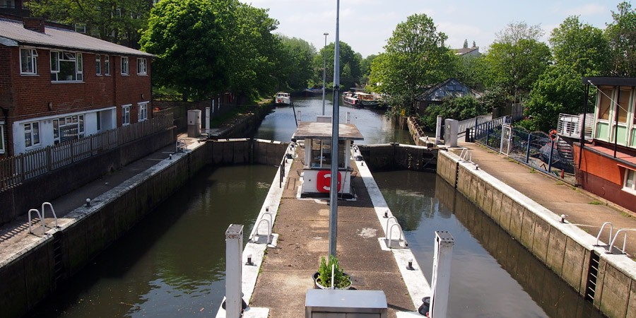 canal locks. photo of the thames lock in brentford canal locks