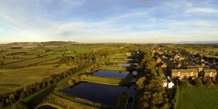Aerial photograph of Caen Hill Lock Flight in Devizes