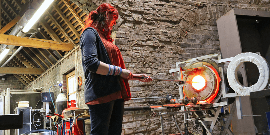 Hayley, Red House Glass Cone, glass blowing