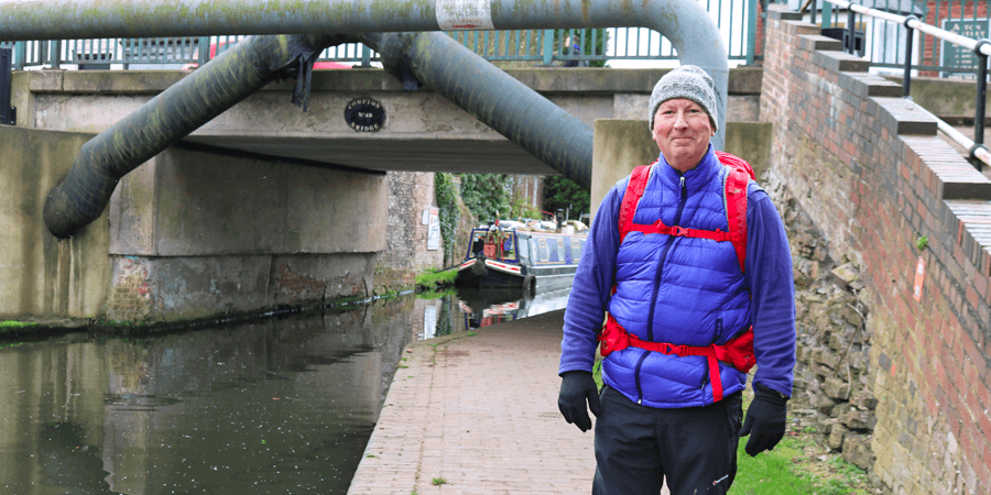Tony on the towpath walking