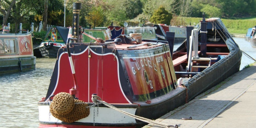Historic boat Sculptor moored at the Canal Museum