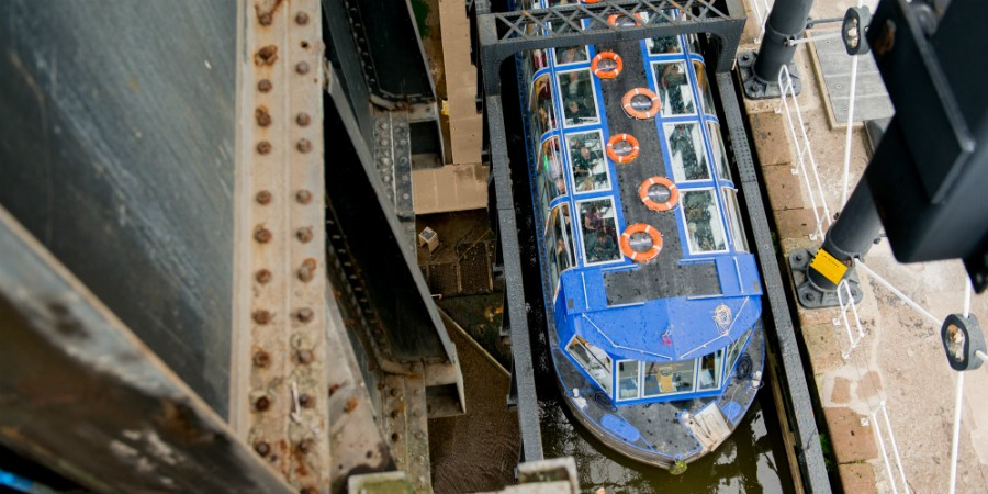 Look down into the boat lift