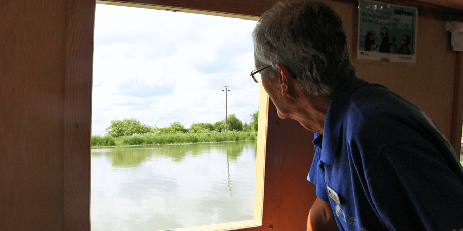 Nigel volunteering on the welcome boat