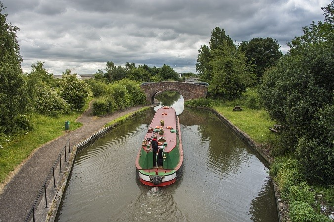 Centaur the trip boat travelling along the Shropshire Union Canal