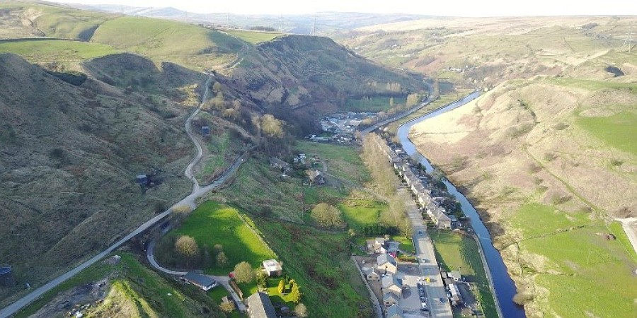 Rochdale Canal from the air at Todmorden