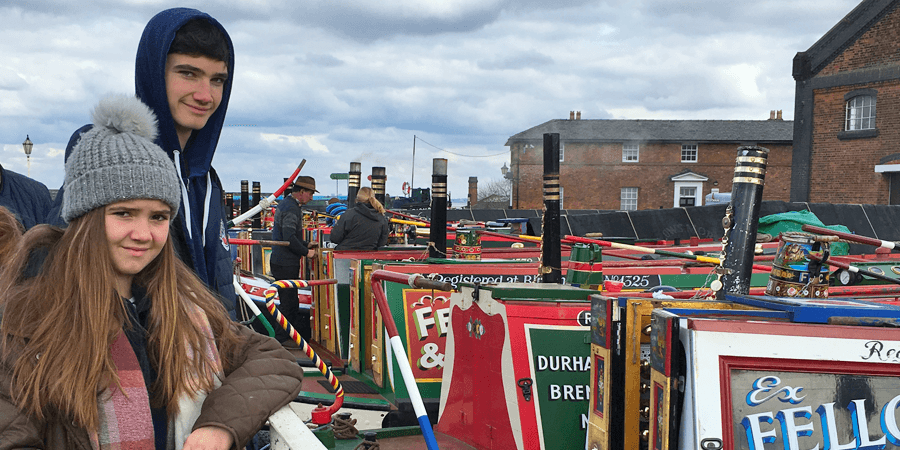 Looking at boats at the National Waterways Museum