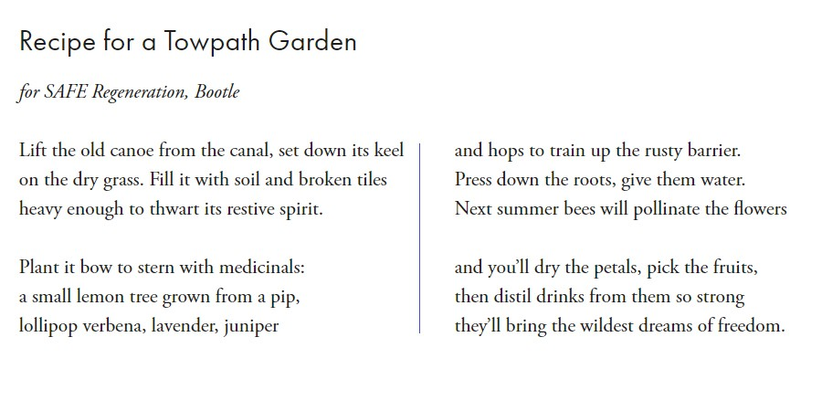 Recipe for a towpath garden, Nancy Campbell