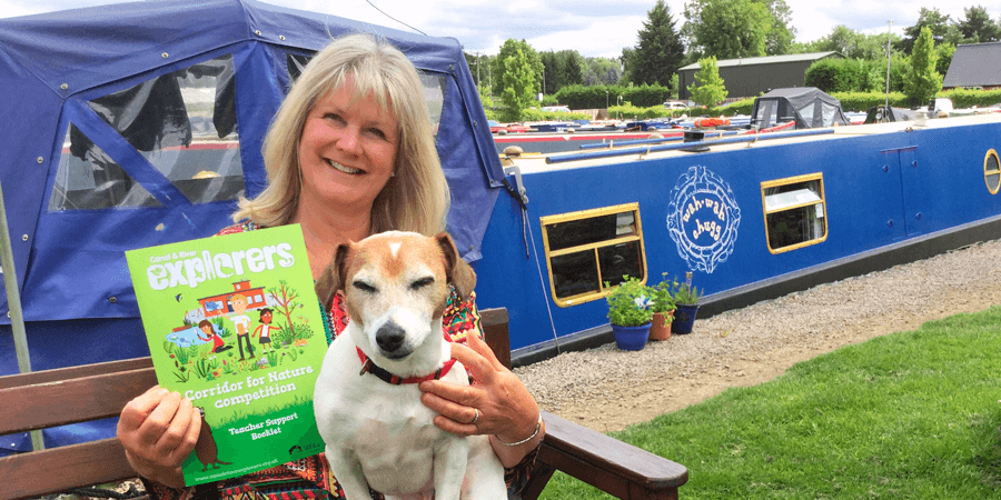 Janet and Chico by their narrowboat