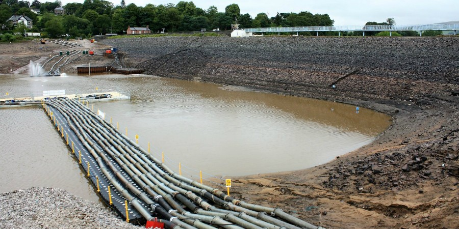 Toddbrook Reservoir drained August 2019