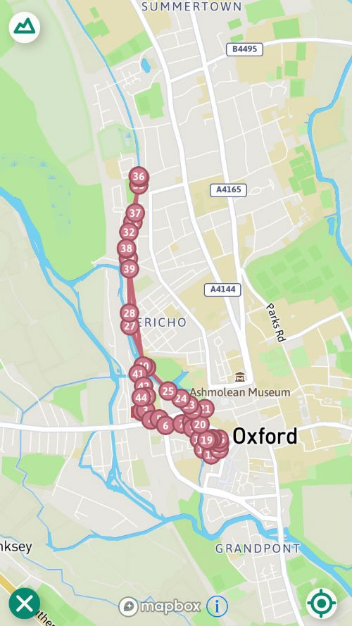 map of Oxford walk