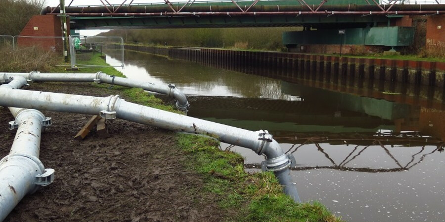 Water being pumped into canal
