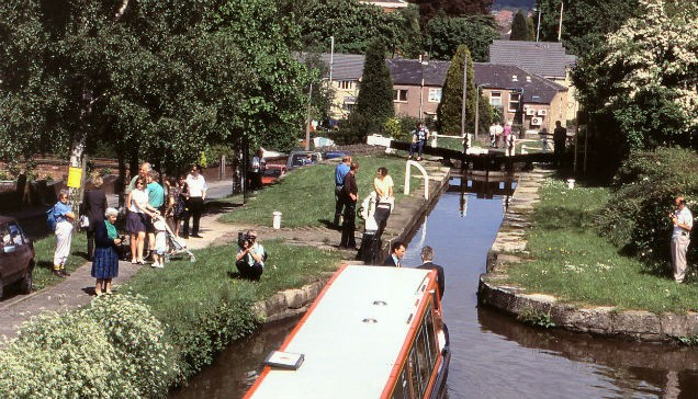 Image showing Marple Locks on the Peak Forest Canal after restoration, photo by WATERWAY IMAGES