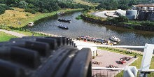View of River Weaver from top of Anderton Boat Lift with boats on river