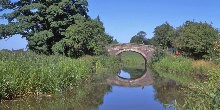 Walkers on bridge across Ashby Canal