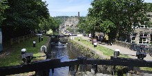 View down locks along Rochdale Canal