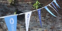 Bunting outside our Welcome Station
