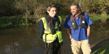 Glyn and Michael stood by Caldon Canal