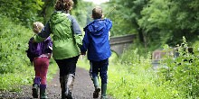 Family walking along Macclesfield Canal