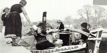 Black and white photo of ladies on narrowboat Golden Spray