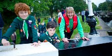 Scouts opening a lock gate