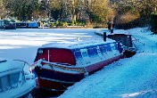 Boats on a frozen canal