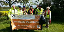 Volunteers take a break from painting Atherstone Locks
