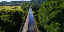 Pontcysyllte Aqueduct stretches out in front of us