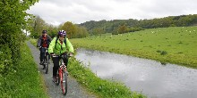 cycling on a rural towpath