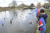 Feeding ducks at Woodlesford Locks