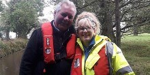 Michelle and Kevin on a canal inspection