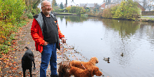 Nigel and his dogs at Marple Locks