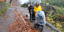 Walking with buggies on the Peak Forest Canal