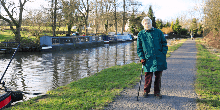 Vera, walking along the canal at Alvechurch
