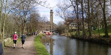 Jogging on the towpath, Saltaire