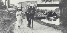 Lady and horse towpath
